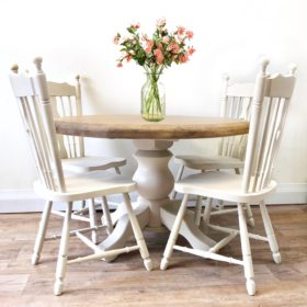table and chair set round cream
