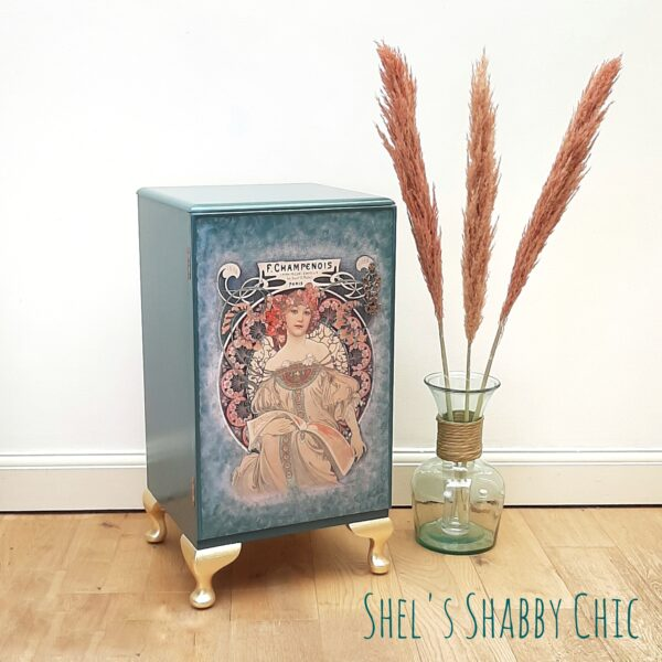 Art Nouveau Drinks Cabinet Lucille Green Pink Gold Shels Shabby Chic Stotfold 1 scaled