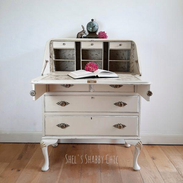 Vintage-Cream-Writing-Bureau-Shels-Shabby-Chic