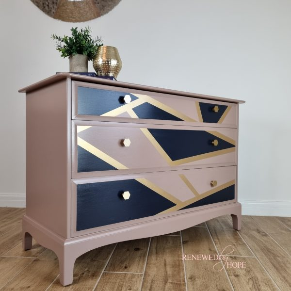Pink Stag Drawers with Navy and Gold Geometric design 9
