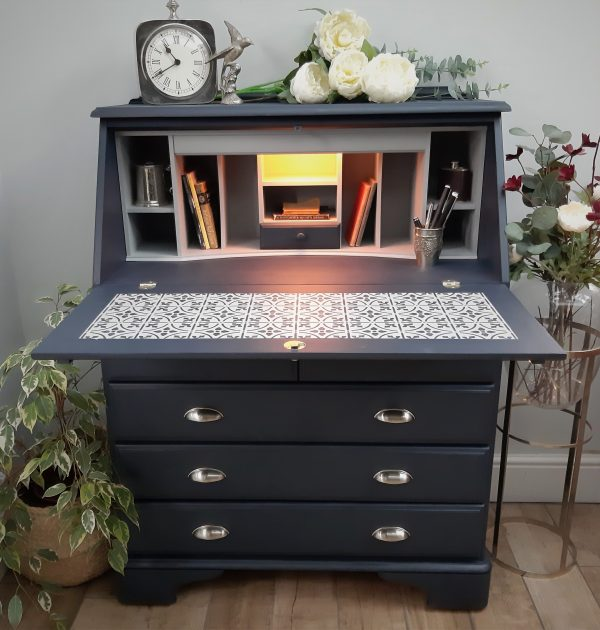 Upcycled painted midnight blue industrial bureau desk No 1 scaled
