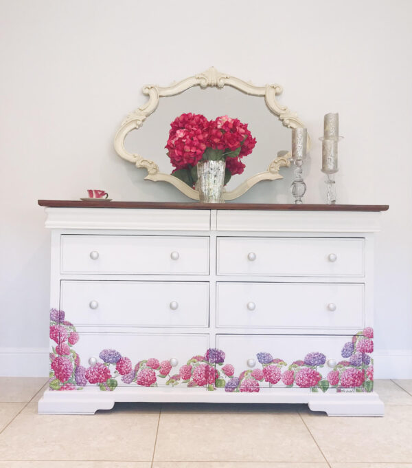 hydrengea flowers decoupage painted dresser autentico chalk paint versante matt crafty nest scaled