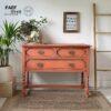 coral pink rustic drawers