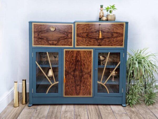 Art Deco vintage retro cocktail drinks cabinet with starburst glazed doors