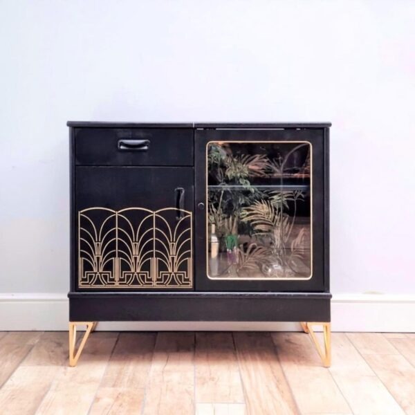 Black and gold art deco cocktail cabinet