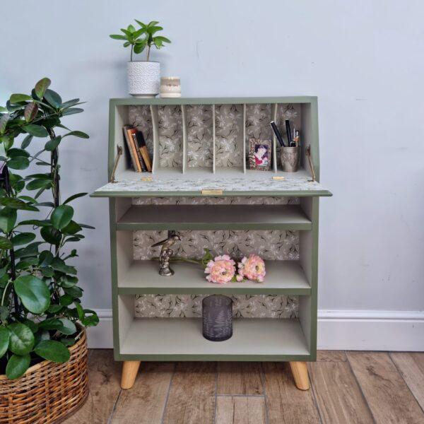 Upcycled painted green daisy bureau No 1