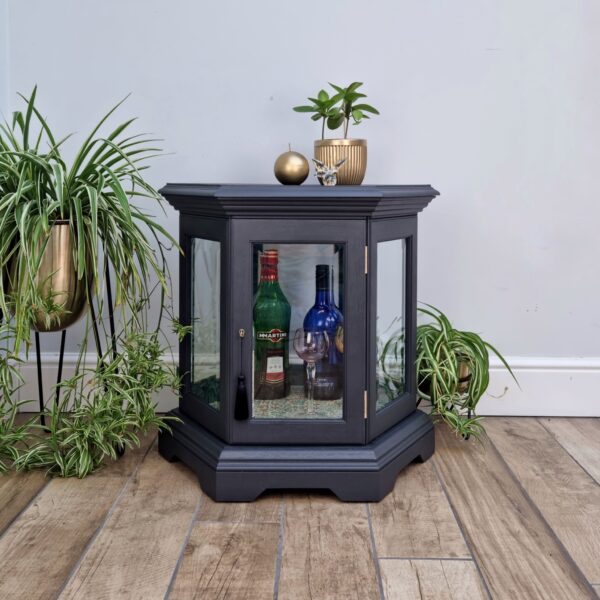 Upcycled painted small cocktail drinks cabinet Wade No 1